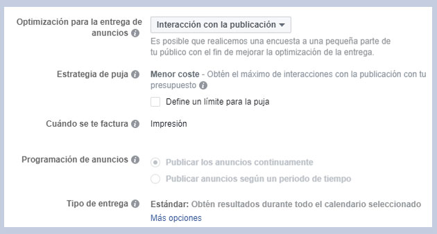 Facebook Ads - optimizacion